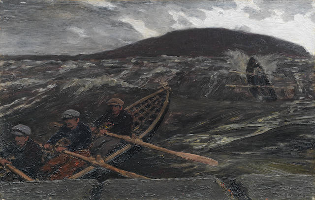 Jack Butler Yeats (Irish, 1871-1957) Island Men Returning 23 x 36 cm. (9 x 14 1/4 in.)