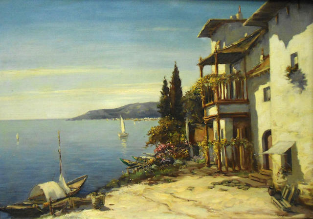 Italian School, 20th century  Villa on the lake