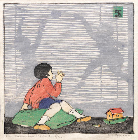 Ethel Spowers (Australian, 1890-1947) The Bamboo Blind Linocut printed in grey, emerald green, black, yellow ochre, pale pink, red and indigo, circa 1926, on thin off-white oriental laid, signed, titled and numbered 11/50 in pencil, with the artist's tablet monogram, with margins, 155 x 152mm (6 1/8 x 6in)(B)