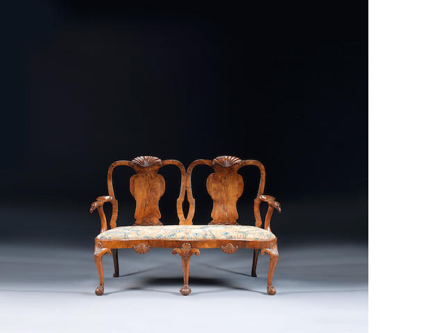 A George II walnut double chair-back settee