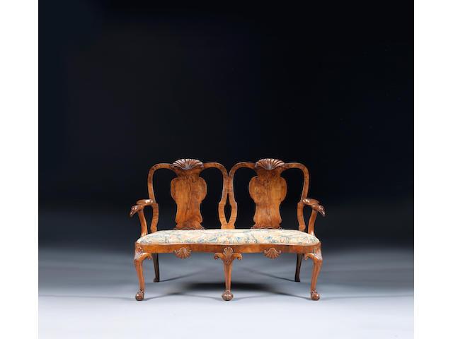 A George II walnut double chair-back settee