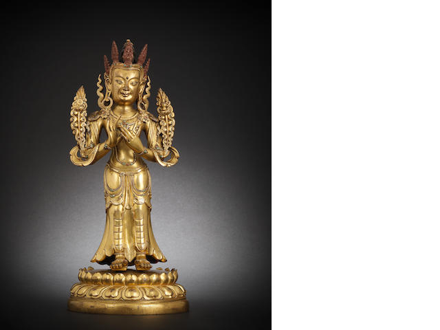 A large gilt-bronze figure of Maitreya Mongolia, 18th/19th century