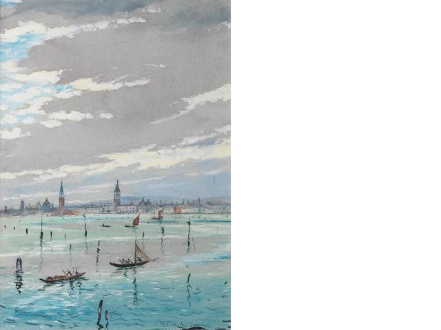 Christopher Richard Wynne Nevinson (British, 1889-1946) On the Adriatic 34.6 x 24.4 cm. (13 5/8 x 9 5/8 in.)