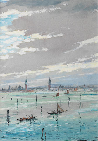 Christopher Richard Wynne Nevinson (British, 1889-1946) On the Adriatic 34.6 x 24.4 cm. (13 5/8 x 9 5/8 in.)