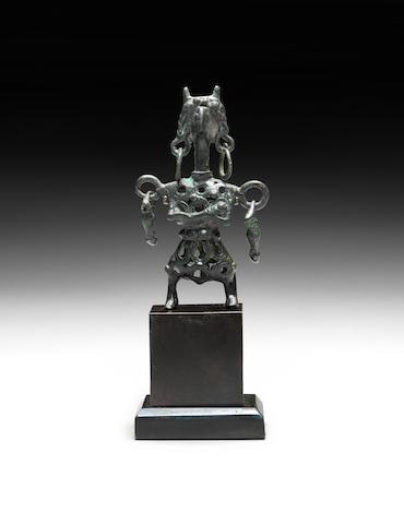 A Luristan bronze openwork female idol