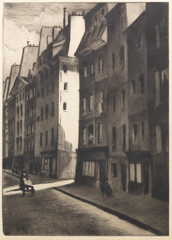 Christopher Richard Wynne Nevinson (British, 1889-1946) Quartier Latin Drypoint, 1922, a good velvety impression, on F. J. Head & Co. hand-made laid, signed in pencil, from the edition of 40, with margins, 351 x 249mm (13 7/8 x 9 7/8in)(PL)