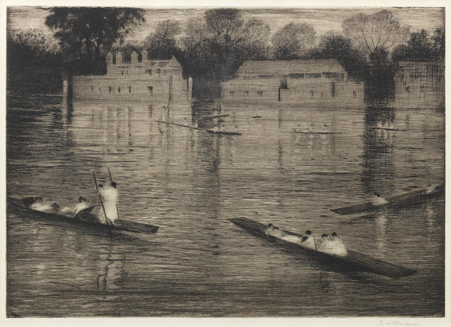 Christopher Richard Wynne Nevinson (British, 1889-1946) Sunday Evening Etching with aquatint, circa 1924-27, on watermarked F. J. Head & Co. hand-made laid, signed in pencil, from the edition of 75, with full margins, 252 x 350mm (10 x 14in)(PL)