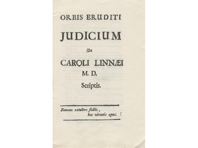 LINNAEUS (CAROLUS) Orbis eruditi Judicium, first edition, [Stockholm, 1741]; and 2 copies of the Hunt facsimile of 1973 (3)