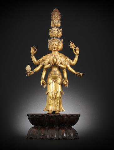 A fine gilt-bronze figure of an eleven-headed Avalokitesvara 18th/19th century