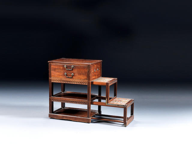 A set of George III carved mahogany, purplewood and ebony inlaid metamorphic library steps in the manner of Mayhew and Ince