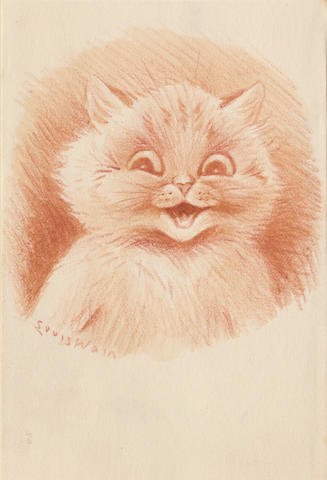 "WAIN (LOUIS) Fine drawing of an animated cat, signed in the image (""Louis Wain"") and signed and inscribed on the conjoint leaf with Christmas wishes,"