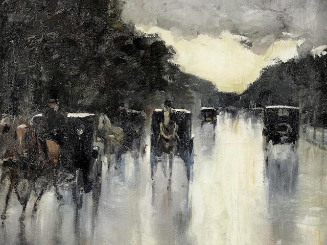 Lesser Ury (German, 1861-1931) Straße im Tiergarten mit Equipagen, Berlin (Painted circa 1915 - 1920)