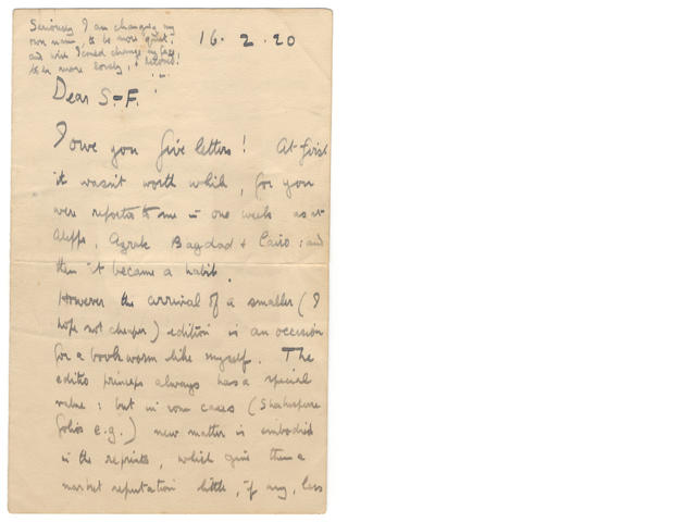 "LAWRENCE (T.E.) Autograph letter signed ("".L.""), to Colonel S.F. Newcombe (""Dear S.-F.""), apologising yet again for being a bad letter-writer, 16 February 1920: IN THE EYES OF ""THOSE WHO KNOW"" I FAILED' – LAWRENCE OF ARABIA ON HIS OWN LEGEND."