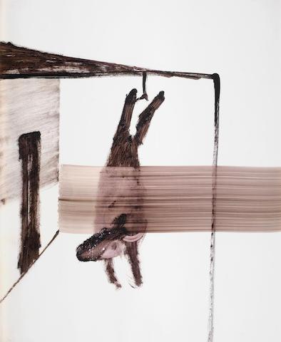Sidney Nolan (Australian, 1917-1992) Hanging carcass I 64 x 50.8 cm. (24 x 20 in.)