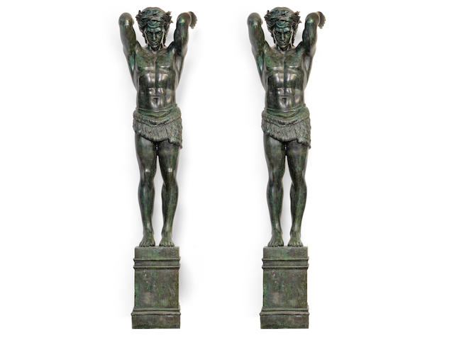 A pair of very impressive verdigris bronze architectural figural pillars or terms