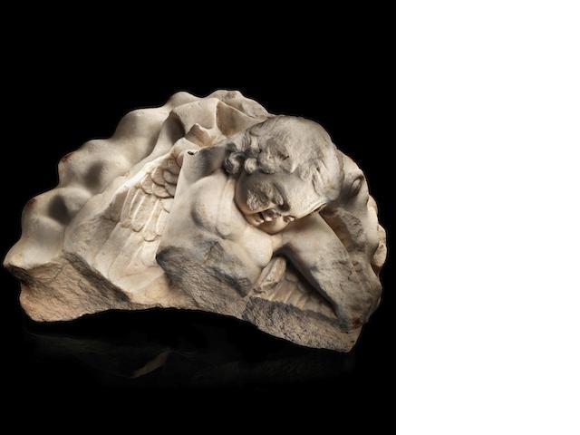 A Roman marble fragment of a sleeping Eros