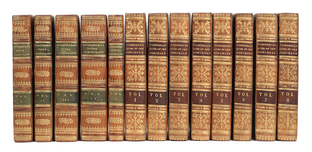 NAVAL SCHOMBERG (ISAAC) The Naval Chronology; or, an Historical Summary of Naval and Maritime Events... a New Edition Revised and Corrected, 5 vol., 1815; Campbell. Lives,8, 1817, fine bindings (13)
