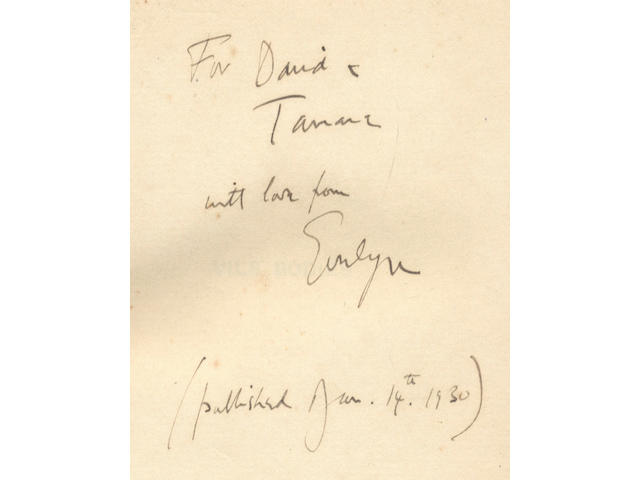 """WAUGH (EVELYN) Vile Bodies, FIRST EDITION, AUTHOR'S PRESENTATION COPY, INSCRIBED """"For David & Tamara with love from Evelyn (published Jan. 14th 1930)"""", Chapman & Hall, 1930"""