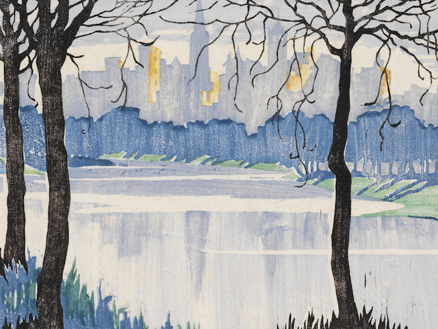 Ethel Spowers (Australian, 1890-1947) Melbourne from the River The rare woodcut printed in colours, circa 1924, a good impression with delicate tonal variation, on oriental laid tissue, signed and titled in pencil, from the edition of 20, with margins, 192 x 277mm (7 5/8 x 10 7/8in)(B)
