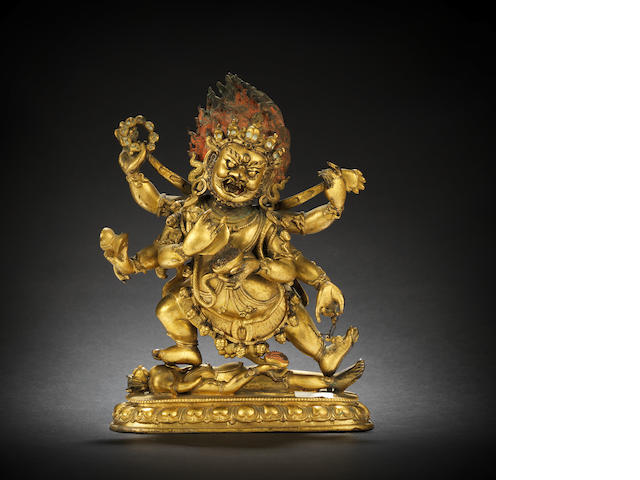 A gilt-bronze figure of Mahakala 18th century
