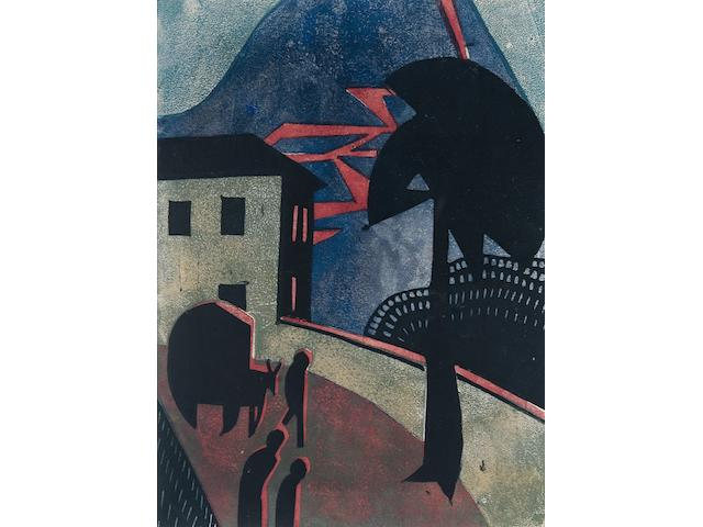Dorrit Black (Australian, 1891-1951) Eruption The rare linocut printed in black, blue, green and red, circa 1929-1930, on buff oriental laid, an unsigned proof impression aside from the proposed edition of 50, with margins, 254 x 187mm (10 x 7 3/8in) (B)