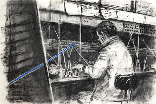William Joseph Kentridge (South African, born 1955) 'Drawing from Stereoscope - Man at switchboard 1999'