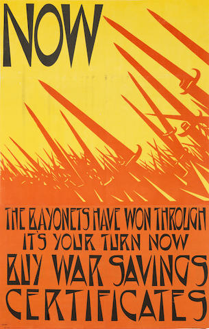 Christopher Richard Wynne Nevinson (British, 1889-1946) The Bayonets Have Won Through The rare lithographic poster printed in red, black and yellow, circa 1918, printed by Dangerfield Printing Co. Ltd., London, the full sheet, 751 x 482mm (29 1/2 x 19in) (SH) unframed