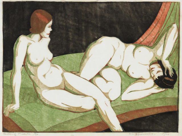 Ethel Spowers (Australian, 1890-1947) Resting Models Linocut printed in greyish beige, viridian, reddish brown and black, 1933-34, an early richly inked impression, on buff oriental laid tissue, signed, titled, dated '1934' and numbered 7/50 in pencil, with margins, 196 x 266mm (7 3/4 x 10 1/2in)(B) unframed
