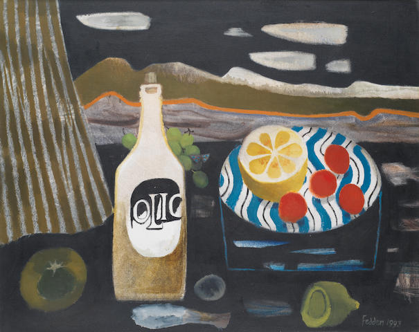 Mary Fedden R.A. (British, 1915-2012) Olio with lemons 61 x 75.8 cm. (24 x 29 7/8 in.)