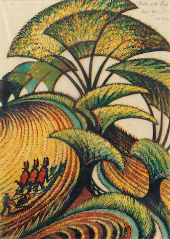 Sybil Andrews CPE (British/Canadian, 1898-1992) Fall of the Leaf Linocut printed in chrome yellow, transparent golden ochre, crimson, viridian and Chinese blue, 1934, an early richly inked impression, on buff oriental laid tissue, signed, titled and numbered 2/60 in pencil, with margins, 362 x 258mm (14 1/4 x 10 1/8in)(B)