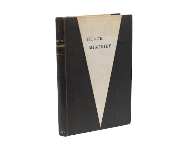 "WAUGH (EVELYN) Black Mischief, AUTHOR'S REVISED PROOF OF THE LIMITED EDITION OF 250 COPIES, MARKED UP FOR THE PRINTER AND WITH AN ORIGINAL DRAWING, INSCRIBED BY THE AUTHOR ""For David & Tamara with love from Evelyn"" on limitation leaf at front, Chapman and Hall, [1932]"