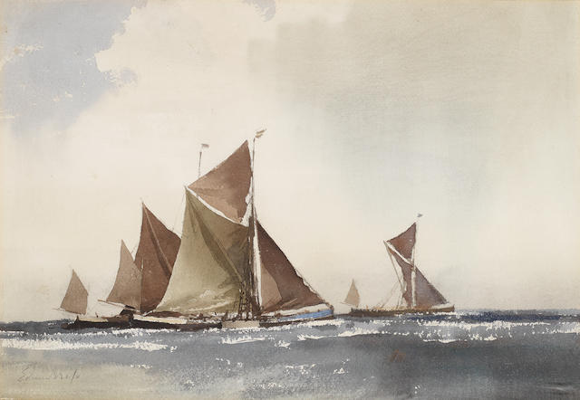 Edward Seago, RWS (British, 1910-1974) Spritsail barges under sail
