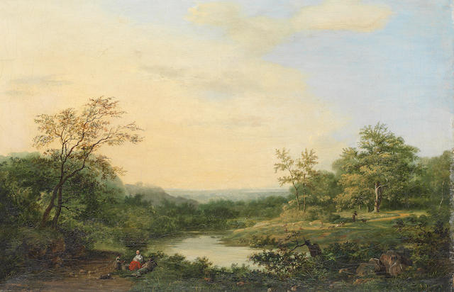 Hendrik Pieter Koekkoek (Dutch, 1843-died circa 1890) A romantic river landscape