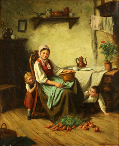 English School, 19th Century Mother and children in an interior