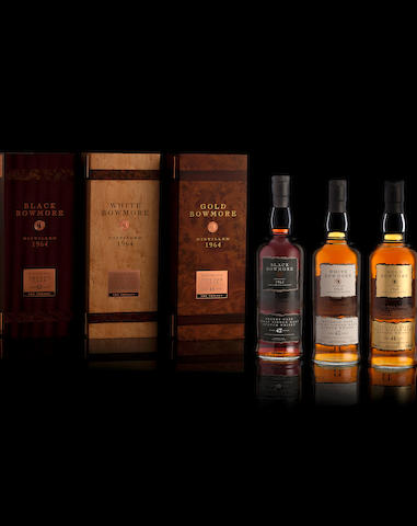 Black Bowmore-42 year old-1964White Bowmore-43 year old-1964Gold Bowmore-44 year old-1964