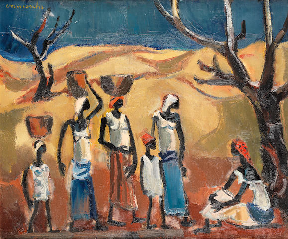 Maurice Charles Louis van Essche (South African, 1906-1977) Congolese water carriers