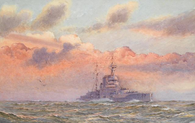 Alma Claude Burlton Cull (British, 1880-1931) HMS Queen Elizabeth in the Mediterranean