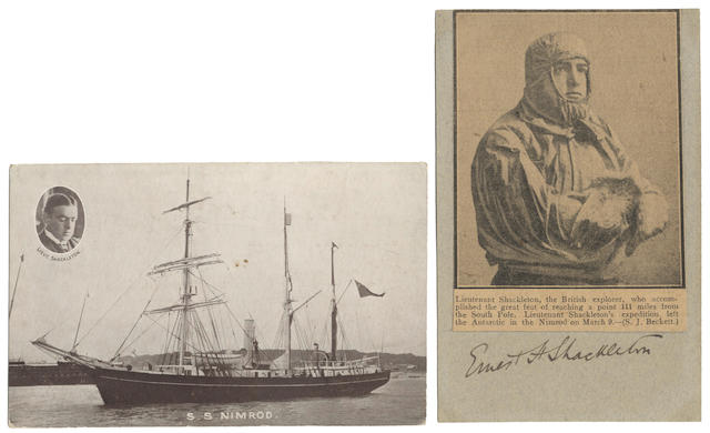 "POLAR SHACKLETON (ERNEST HENRY) Presentation signature (""Ernest H. Shackleton"") on a postcard, written below a mounted photograph of Shackleton cut from a newspaper,  (2)"