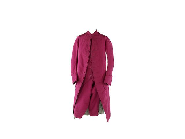 A gentleman's three-piece suit, circa 1770s