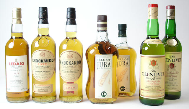 Ledaig-Vintage 1974Knockando-1977Knockando-1978 (2) Isle of Jura-10 year old (2) The Glenlivet-12 year old (2)