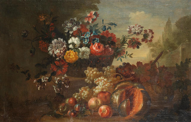 English School, 18th Century Honeysuckle, roses, convolvulus and other flowers in a vase, with grapes, plums, melon, peaches, apples and other fruit on a stone ledge