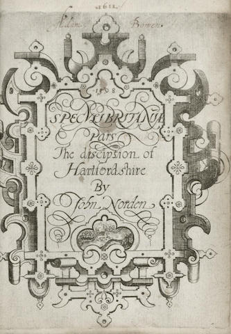 NORDEN (JOHN) Speculi Britan[n]iae pars The Description of Hartfordshire, [Printed by Thomas Dawson, 1598]