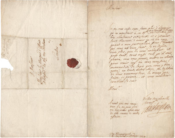 "BUCKINGHAM (GEORGE VILLIERS, FIRST DUKE OF) Autograph letter signed (""Buckingham""), in French, to the French Ambassador at St James's, the Marquis d'Effiat,  ""De Neumarquet"", 3 February 1624[/25]"