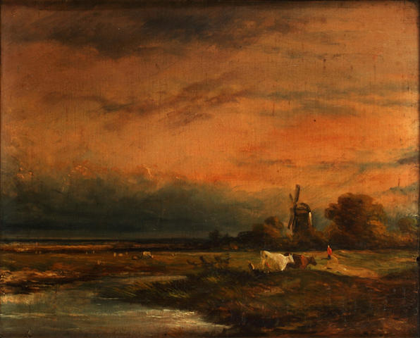 Dutch School, 19th century Cattle by a river with a distant windmill,