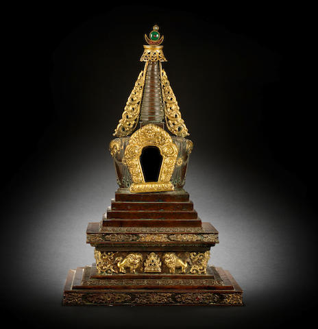 A very large parcel-gilt copper-alloy stupa Qianlong