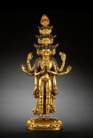 A large gilt-bronze figure of Avalokitesvara Probably 19th century