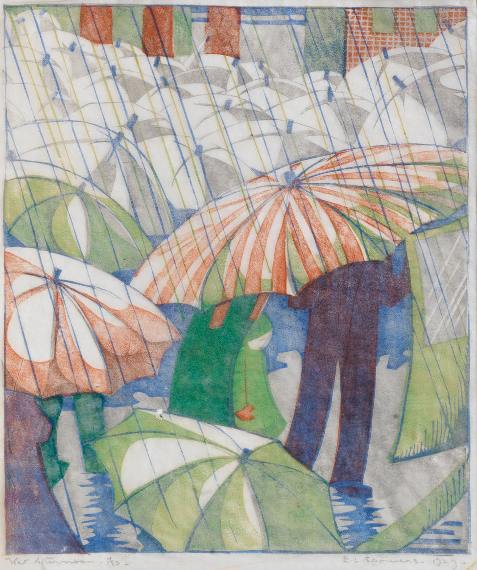 Ethel Spowers (Australian, 1890-1947) Wet Afternoon Linocut printed in grey, reddish brown, emerald green and cobalt blue, 1929, a good early impression, on buff oriental laid, signed, titled dated and numbered 4/50 in pencil, with margins, 238 x 203mm (9 3/8 x 8in)(B)