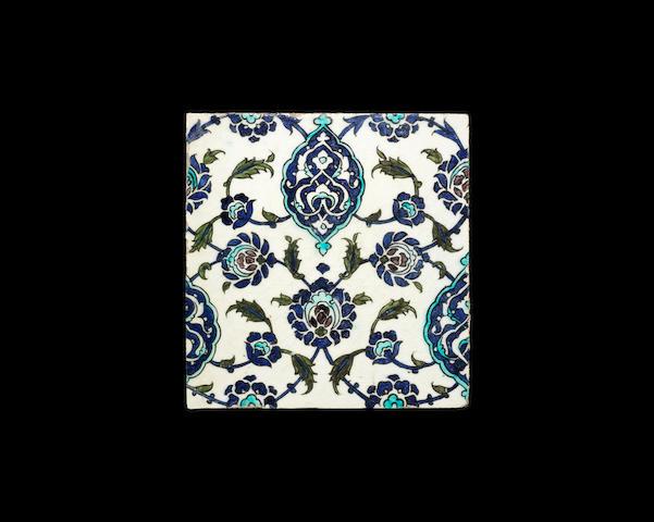 A Damascus underglaze-painted pottery Tile Syria, 17th Century