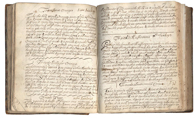 "COOKERY and HOUSEHOLD OECONOMY Recipe book of Elizabeth Charnell, bearing her ownership inscription under her maiden name (""Elizabeth Willmott/ 1679"") and when married (""Elizabeth Charnell/ 1690""), containing culinary and medical recipes,  1679 and later"