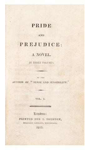 AUSTEN (JANE) Pride and Prejudice, 3 vol. in 1, first edition, T. Egerton, 1813